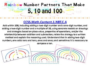 Rainbow Number Partners That Make 5, 10 and 100