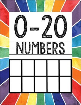 Rainbow Number Posters 0-20 with ten frame