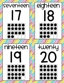 Rainbow Number Posters 0-20