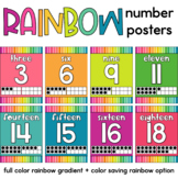 Rainbow Number Posters 0-20 | Classroom Decor