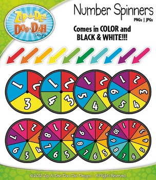 Rainbow Number Spinners Clipart Mega Set — Over 40 Graphics!