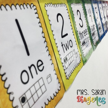 Rainbow Number Wall Cards 0 - 20 + Tens
