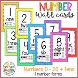 Colorful Number Wall Cards 0 - 20 + Tens