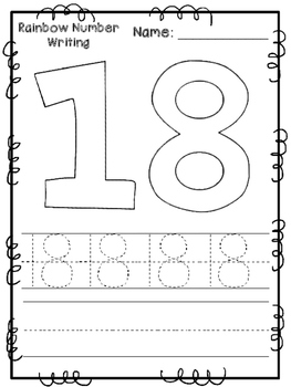Rainbow Number Writing Pages 11-20