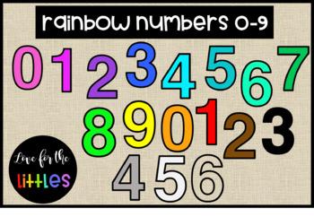 Rainbow Numbers 0-9 Clip Art