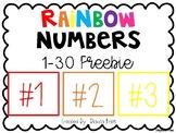 Rainbow Numbers 1-30 FREEBIE
