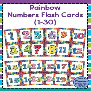 Rainbow Numbers Flash Cards