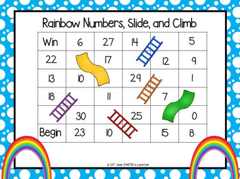 Rainbow Numbers, Slide, and Climb:  NO PREP Number Identification Game