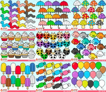 Rainbow Objects Clip Art Bundle