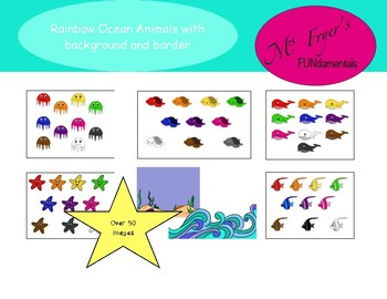 Rainbow Ocean Animals with Background and Frame