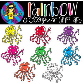Rainbow Octopus Clip Art {FREEBIE}