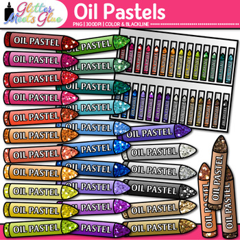 Rainbow Oil Pastel Clip Art | Drawing Tools & Material Graphics for Art Teachers