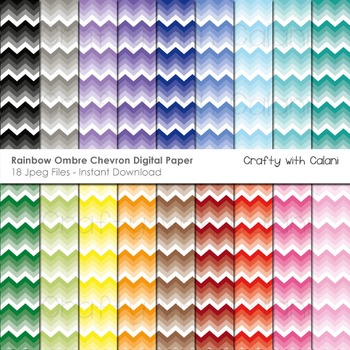 Ombre Chevron in Rainbow Colors Digital Paper Set