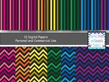Digital Papers: Dark Rainbow Chevron Pack