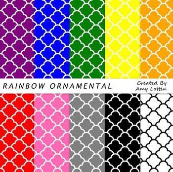 Rainbow Ornamental Digital Papers