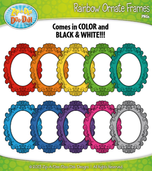 Rainbow Ornate Frames Clipart Set 1 — 11 Colorful Graphics!