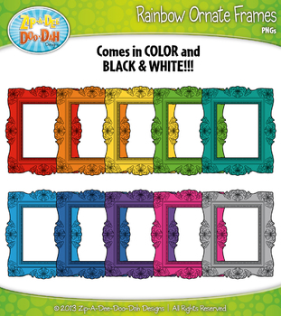 Rainbow Ornate Frames Clipart Set 2 — 11 Colorful Graphics!