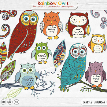 Rainbow Owl ClipArt, Colorful Owl Clip Art, Primary Red, B