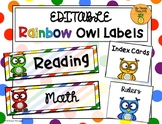 Rainbow Owl Labels EDITABLE
