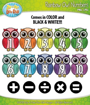 Rainbow Owl Math Numbers Clipart — Over 30 Graphics!