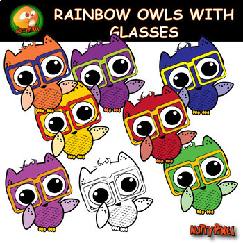 Rainbow Owl With Glasses Clip Art