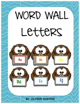 Rainbow Owl Word Wall Letters and Sight Word Cards and blanks