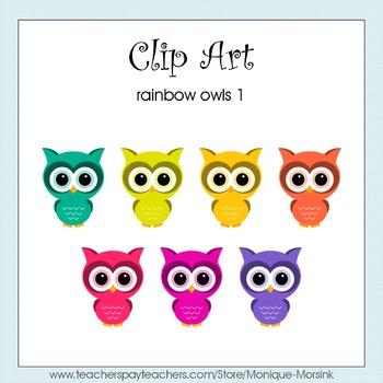 Rainbow Owls 1 - Clip Art - Freebie