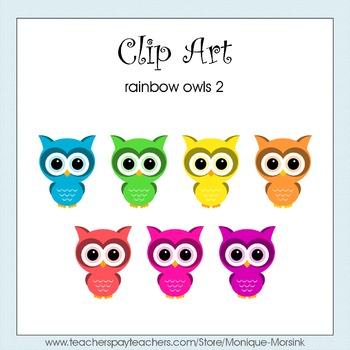 Rainbow Owls 2 - Clip Art - Freebie