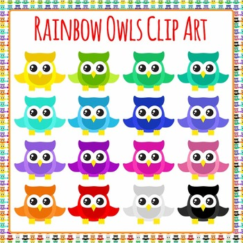 Rainbow Owls Clip Art Pack for Commercial Use