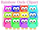 Rainbow Owls Clipart Collection