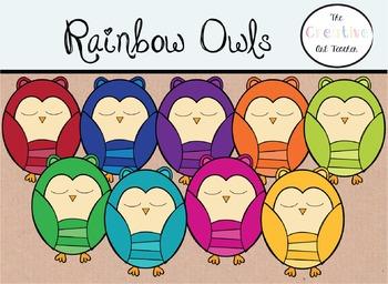 Rainbow Owls - Digital Clipart