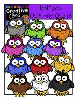 Rainbow Owls and Owlets {Creative Clips Digital Clipart}