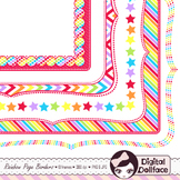 Rainbow Page Frames, Border Clipart