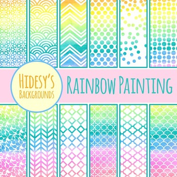 Rainbow Painting Backgrounds / Digital Papers / Patterns C