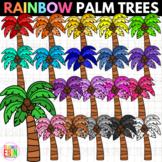 Rainbow Palm Trees Clipart - Summer Clip Art