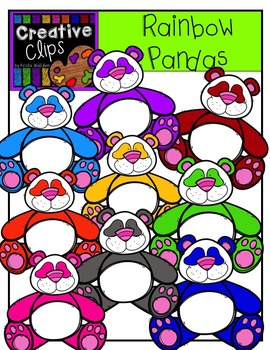 Rainbow Pandas {Creative Clips Digital Clipart}