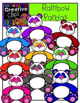 Rainbow Pandas {Creative Clips Digital Clipart}