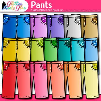 Rainbow Pants Clip Art {Glitter Clothing Graphics for Digital Scrapbooking}