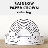 Rainbow Paper Crown Headband Printable Coloring Spring Summer Craft Activity