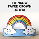 Rainbow Paper Crown Headband Printable Spring Summer Craft Activity Template