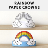 Rainbow Paper Crowns Headbands Printable Coloring Spring Summer Craft Activity