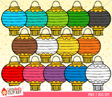 Rainbow Paper Lanterns Clip Art
