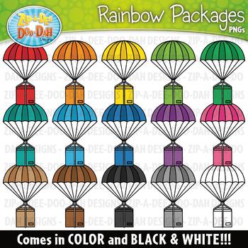Rainbow Parachute Packages Clipart {Zip-A-Dee-Doo-Dah Designs}