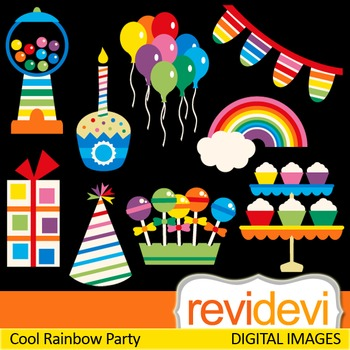 Rainbow Party Clip Art (candy, sweets, balloons, cupcakes)