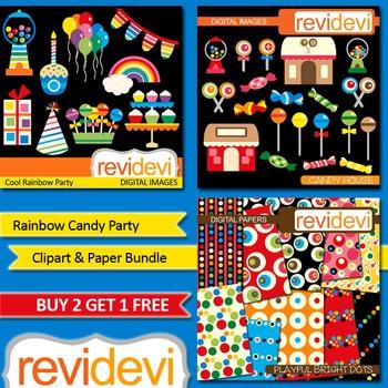 Rainbow Party Clip art (3 packs)