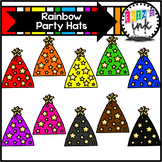Rainbow Party Hats Clipart (Erin's Ink Clipart)