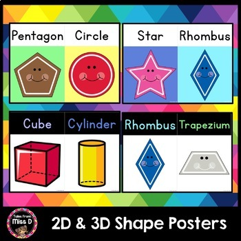 2D and 3D Shape Posters (Rainbow Pastel)