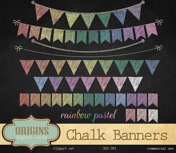 Rainbow Pastel Chalk Bunting banners