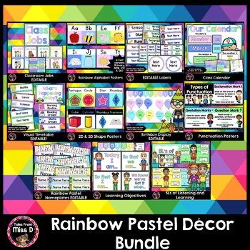 Classroom Decor Rainbow Pastel Theme BUNDLE