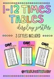 Rainbow/Pastel Times Tables Display Posters FREEBIE